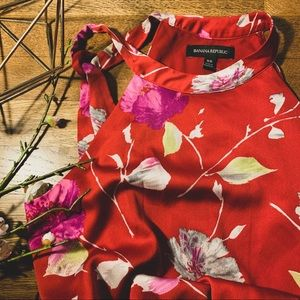 Banana Republic Red Floral Maxi Dress